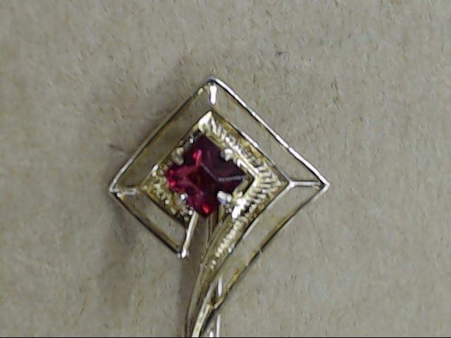 VINTAGE RUBY RED PRINCESS ASSCHER CUT STICK PIN BROOCH REAL 10K GOLD