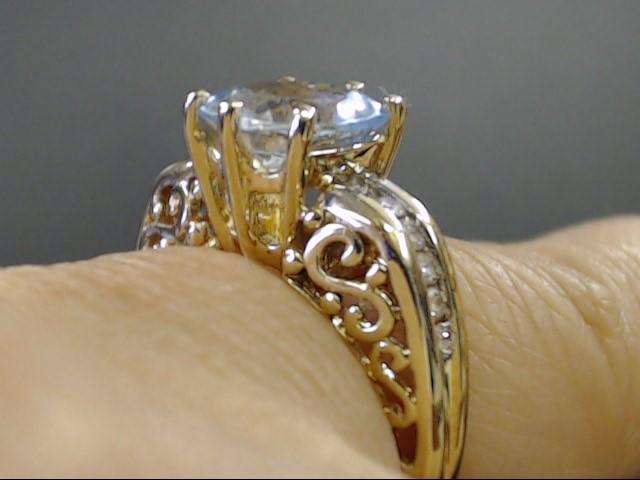 VINTAGE AQUAMARINE BLUE TOPAZ DIAMOND RING SOLID 14K GOLD SIZE 5.5