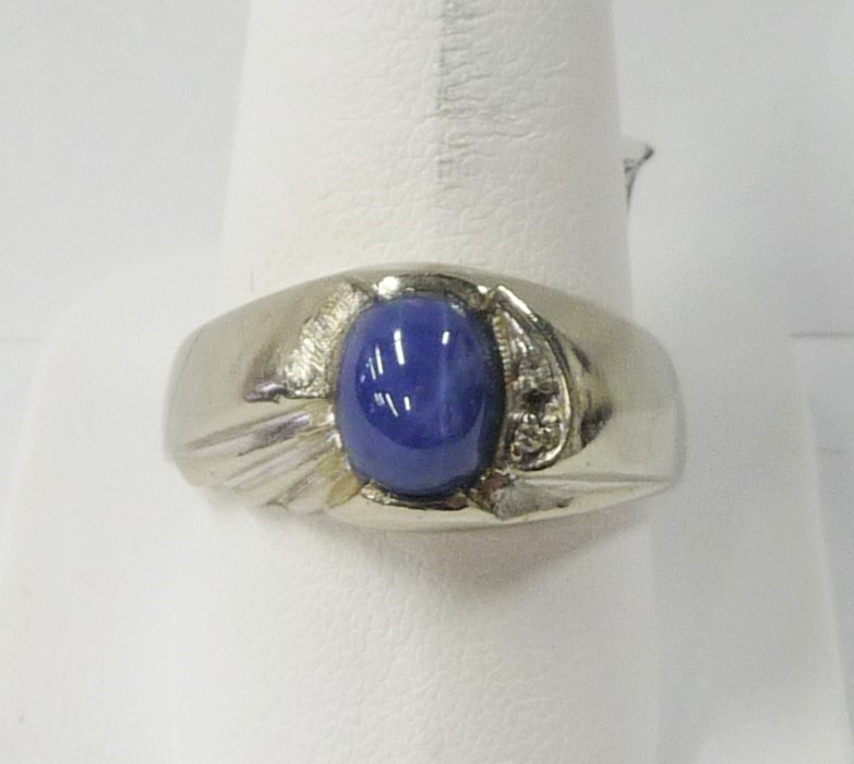Synthetic Star Sapphire Gent's Stone Ring 10K White Gold 4.89dwt