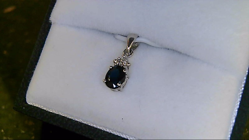 Synthetic Sapphire Gold-Diamond & Stone Pendant .01 CT. 10K White Gold 0.42g