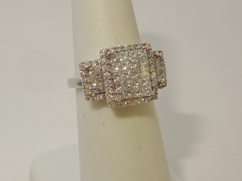 Lady's Gold-Diamond Anniversary Ring 82 Diamonds 1.15 Carat T.W. 14K White Gold