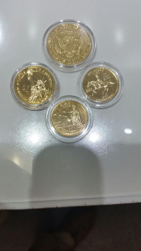 2008 Obama & Biden Painted Quarter, Half, Dollar 24K Gold Plated Coin Set