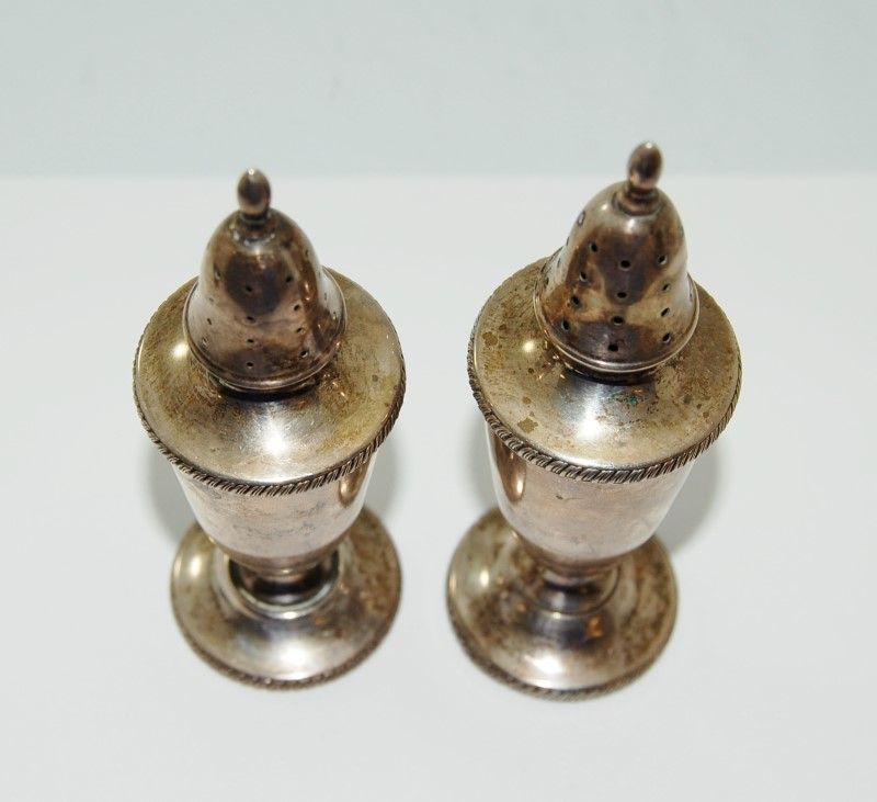 Vintage Sterling Silver NON-WEIGHTED Edwardian Style (Pair) Salt & Pepper Shaker