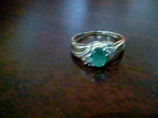 Synthetic Emerald Lady's Stone Ring 14K Yellow Gold 3g Size:8