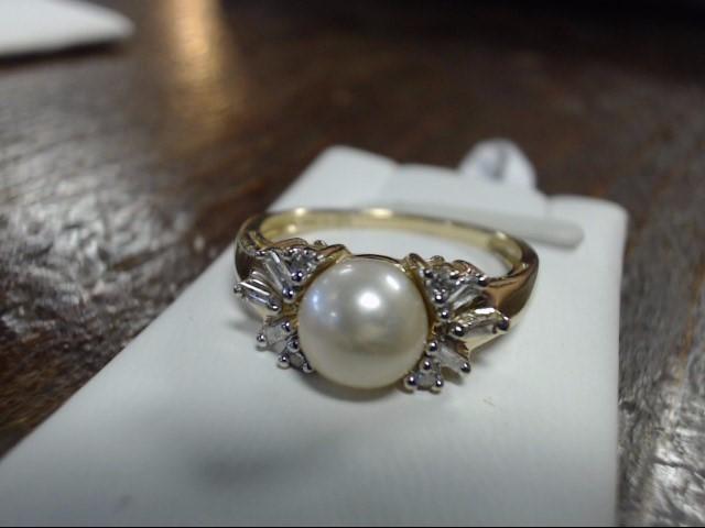 Synthetic Agate Lady's Stone & Diamond Ring 10 Diamonds .10 Carat T.W.