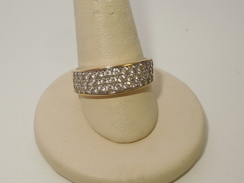 Synthetic Cubic Zirconia Gent's Stone Ring 14K Yellow Gold 6.3g Size:11
