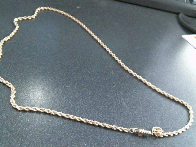 "22"" 14KT Gold Rope Chain NO STONE(S) 14K Yellow Gold 8.8dwt"