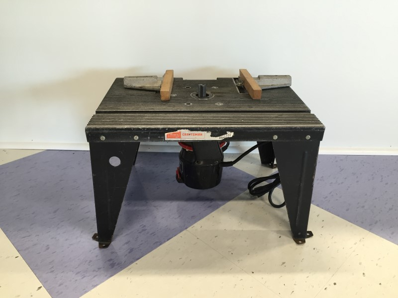 CRAFTSMAN ROUTER MODEL #28180, WITH TABLE, FAIR CONDITION, COSMETIC WEAR.