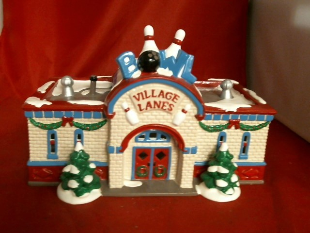 christmas ornament village bowling lane