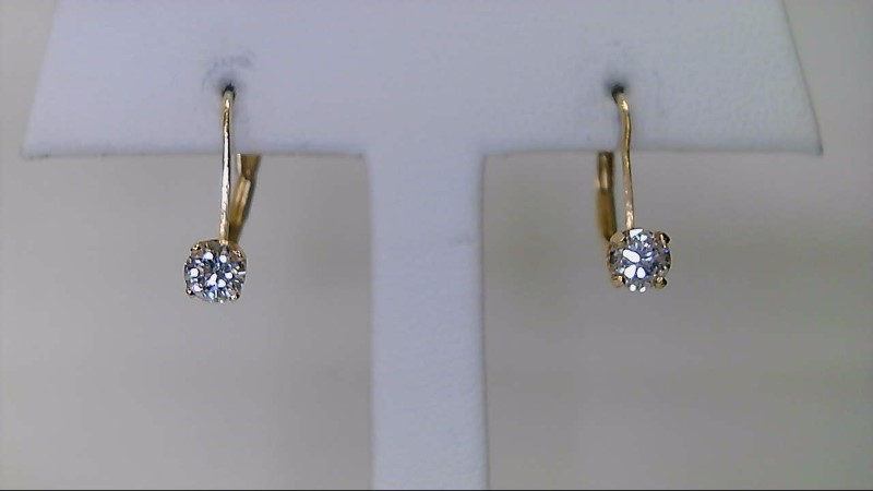 ESTATE 14K YG .40CTTW RD DIA LEVER BACK EARRINGS
