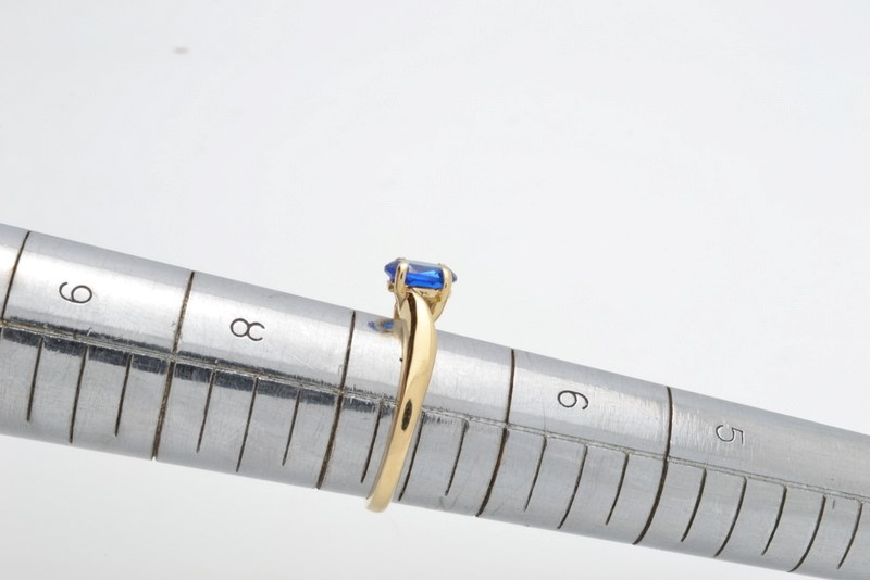 ESTATE BLUE STONE RING SOLID 14K YELLOW GOLD OVAL CUT FINE SIZE 6.5