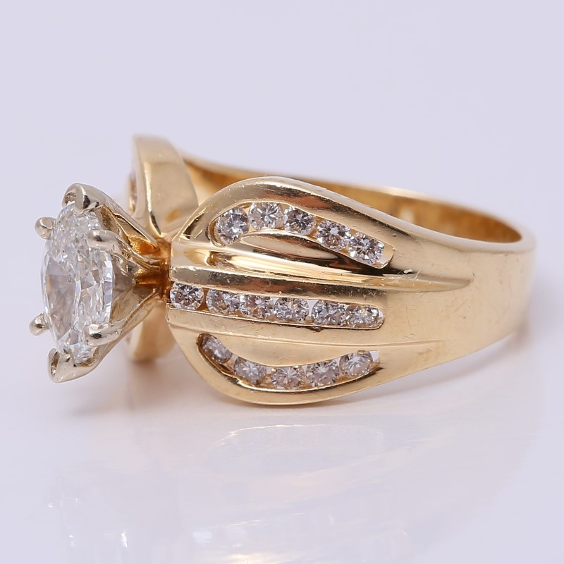 Vintage Inspired 14K Marquise & Channel Set Diamond Ring Size 4.75