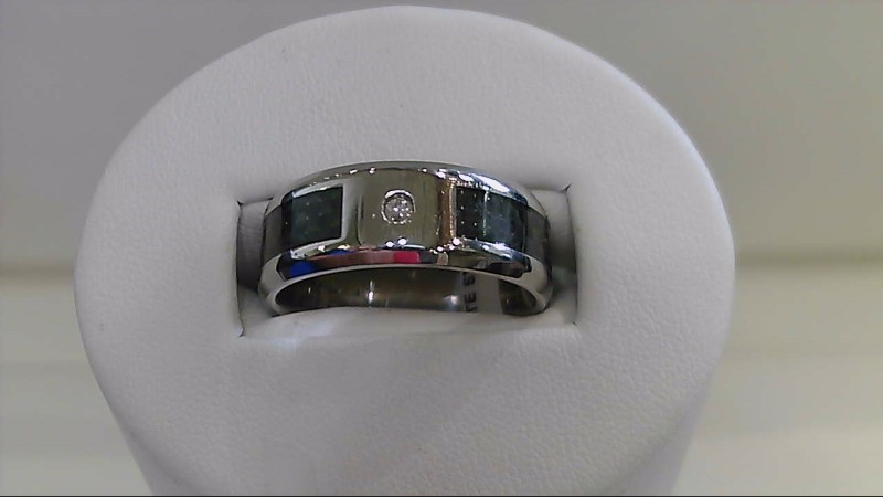 Gent's Diamond Ring 3 Diamonds .03 Carat T.W. Silver Stainless 6.9g