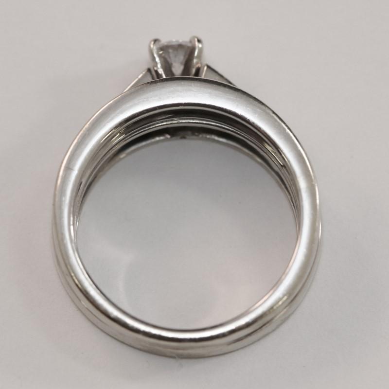 14K W/G Channel Set Diamond Wedding Ring Set Size 7