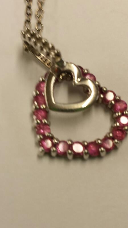 Necklace PINK STONE HEART 925 Silver 1.44dwt