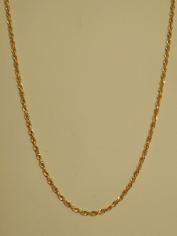 "32"" Gold Rope Chain 14K Yellow Gold 8.5g"