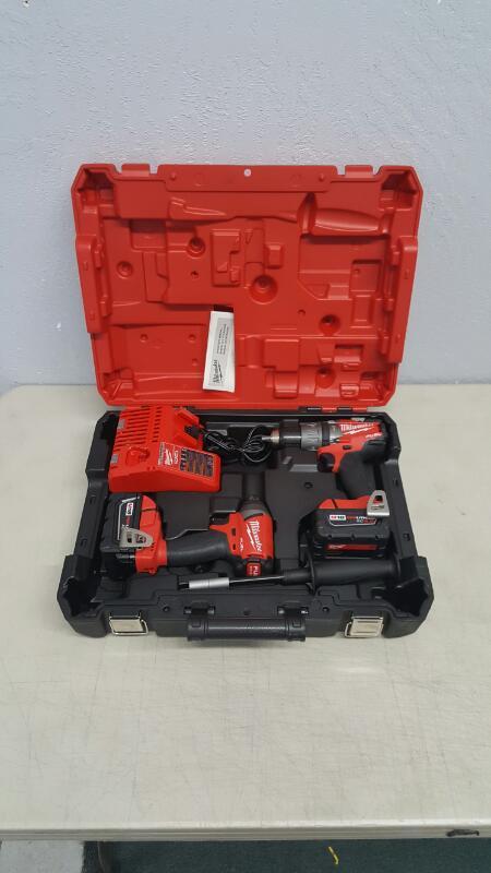 "Milwaukee 2897-22 18V M18 Fuel Li/Ion 1/2"" Hammer Drill & 1/4"" Hex Impact Driver"
