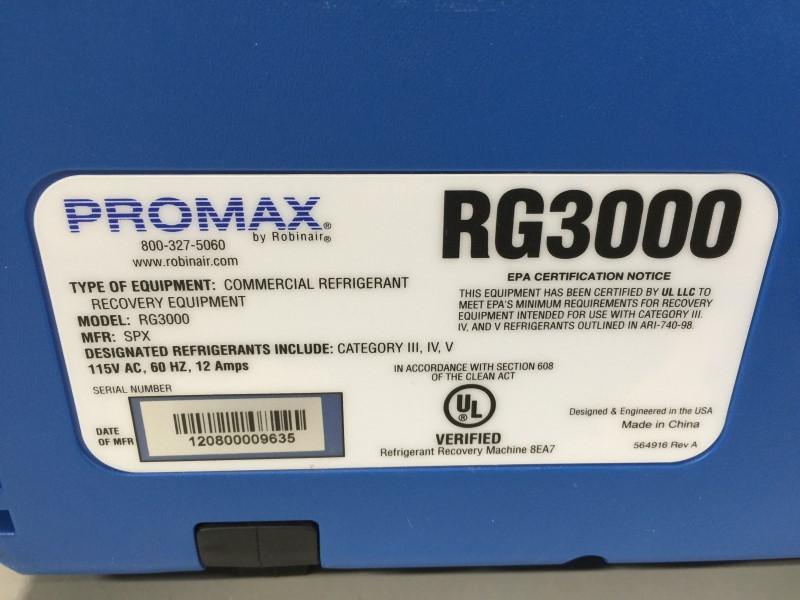 PROMAX RG3000 REFRIGERANT RECOVERY MACHINE