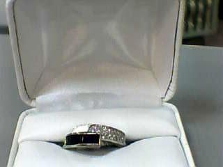 Sapphire Lady's Stone & Diamond Ring 24 Diamonds .24 Carat T.W. 14K White Gold
