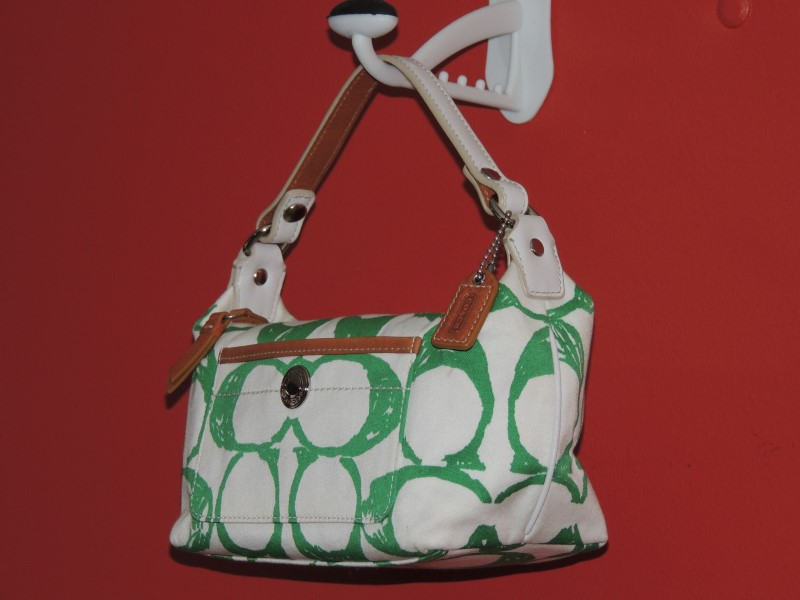 Coach Signature C Pocket Canvas Leather Trim Baguette Bag