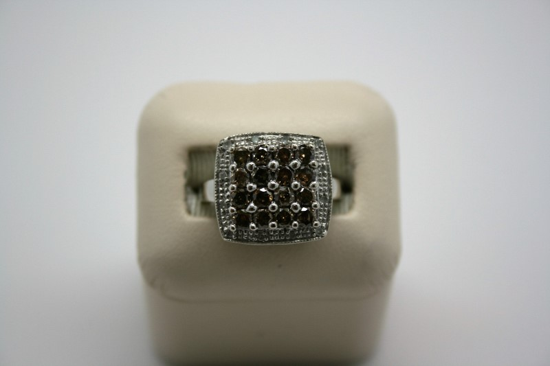 LADY'S FASHION CHOCOLATE DIAMOND RING 10K WHITE GOLD