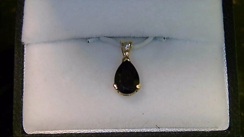 Synthetic Sapphire Gold-Diamond & Stone Pendant .01 CT. 10K Yellow Gold 0.5g
