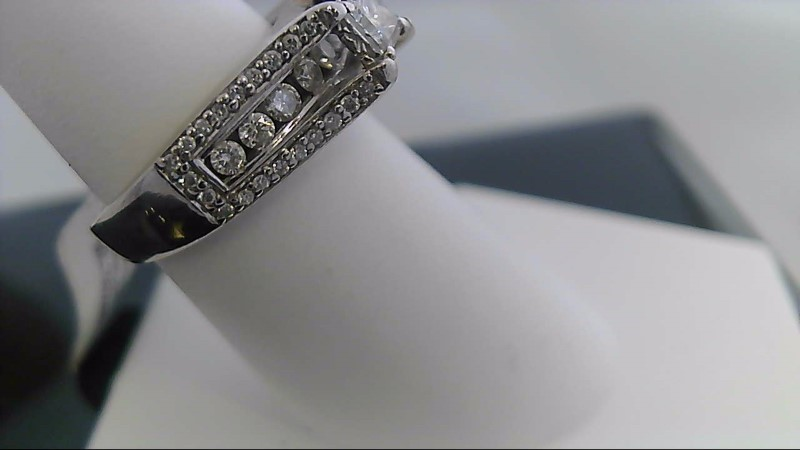 Lady's Diamond Engagement Ring 48 Diamonds 1.05 Carat T.W. 14K White Gold 6.5g