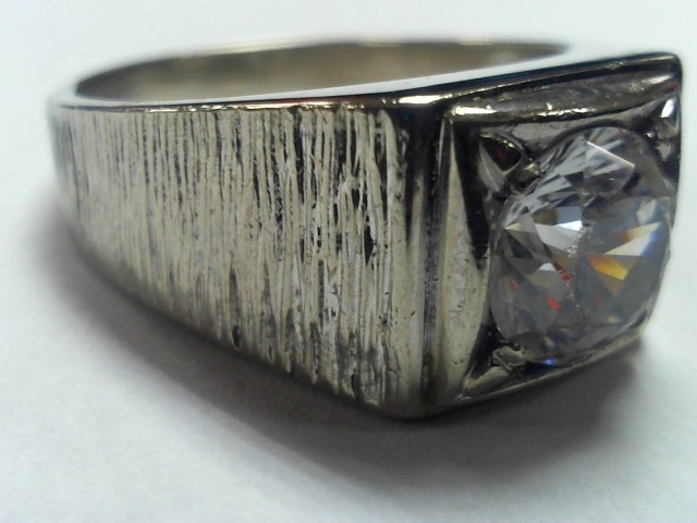 Cubic Zirconia Gent's Stone Ring 14K White Gold 10.5g