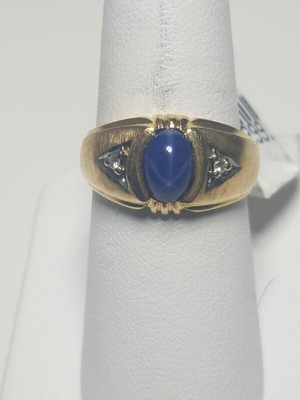 White Stone Gent's Stone Ring 14K Yellow Gold 3.45dwt Size:6.5