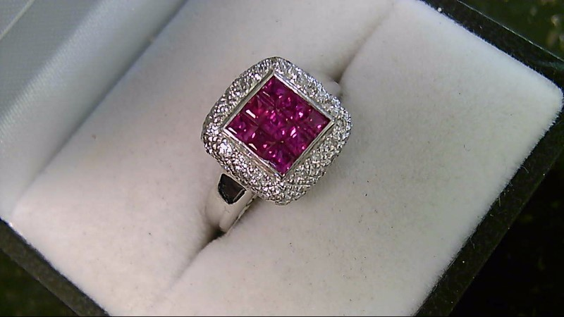 LeVian Synthetic Ruby & Diamond 18K White Gold Ring Sz 5.5
