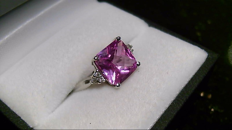 Synthetic Pink Sapphire Lady's Stone & Diamond Ring 6 Diamonds .06 Carat T.W.