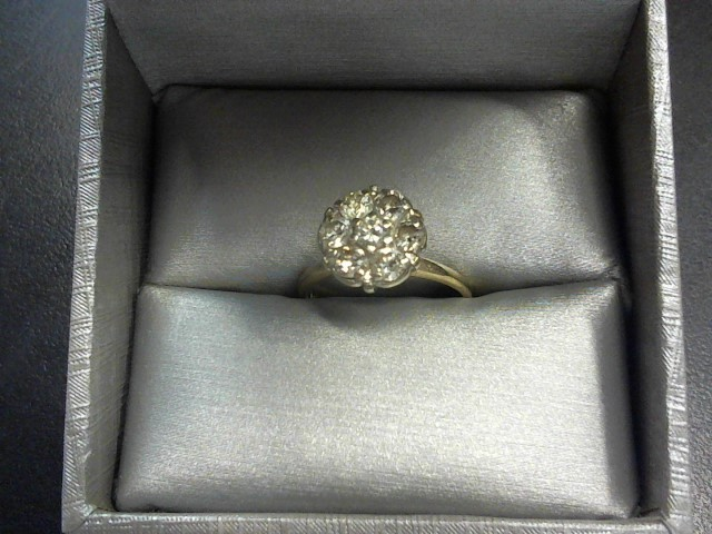Lady's Diamond Cluster Ring 7 Diamonds .70 Carat T.W. 14K Yellow Gold 3.3g