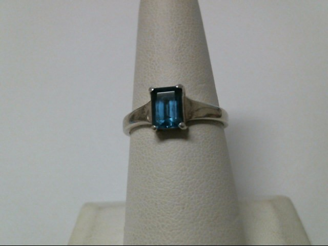Blue Stone Lady's Silver & Stone Ring 925 Silver 2.2g Size:7.5