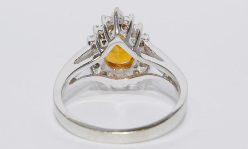 14K White Gold Cathedral Pear Orange Tourmaline & Diamond Halo Style Ring sz 7