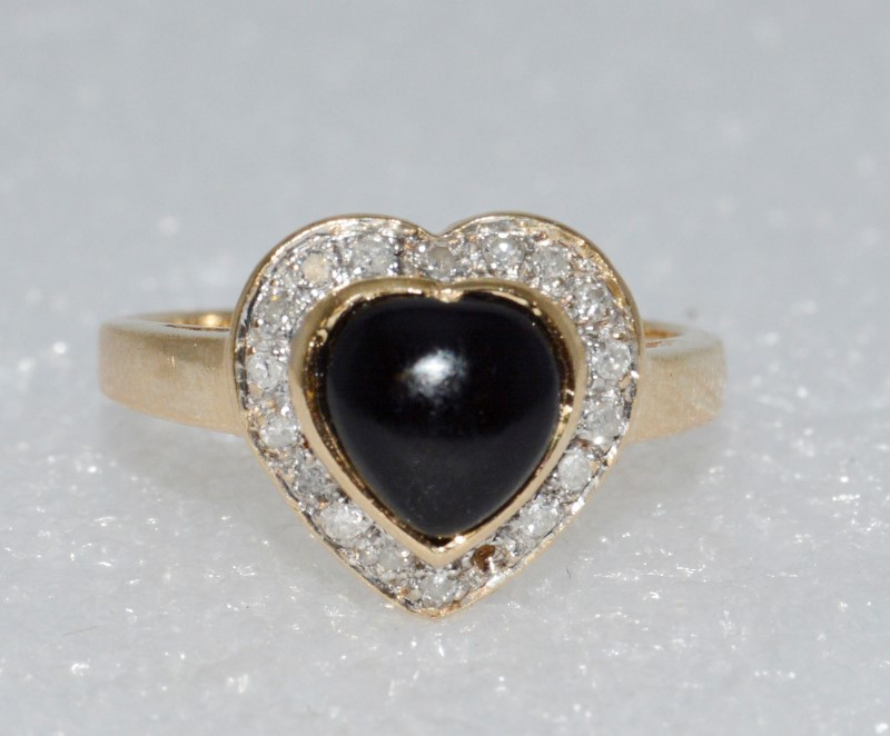 14K Yellow Gold Cathedral Set Cabochon Heart Black Onyx & Diamond Halo Ring sz 7