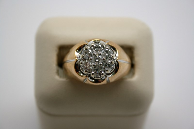 GENT'S FASHION DIAMOND RING 14K YELLOW GOLD