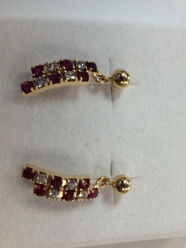 Ruby Gold-Diamond & Stone Earrings 8 Diamonds .24 Carat T.W. 14K Yellow Gold