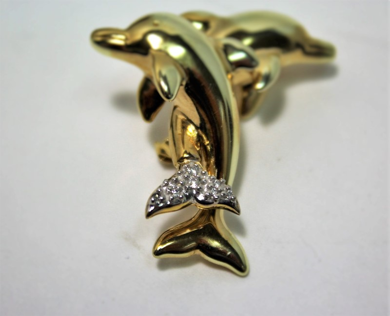 Gold-Diamond Brooch 8 Diamonds .050 Carat T.W. 14K Yellow Gold 4.1g