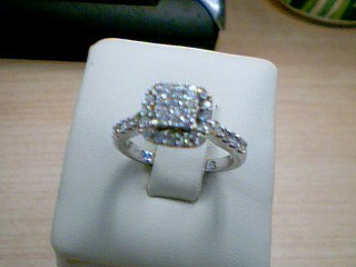 Lady's Diamond Cluster Ring 17 Diamonds .50 Carat T.W. 14K White Gold 3.6g