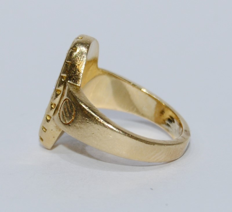 14K Yellow Textured 3 Diamond Oval Baby Ring Size 2.75