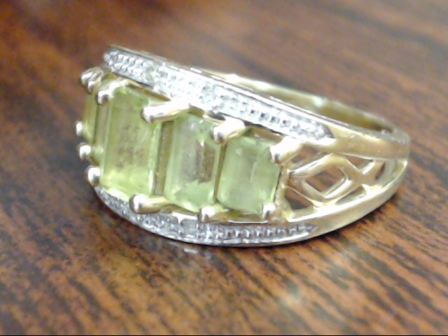 EMERALD CUT PERIDOT DIAMOND RING BAND SOLID 14K GOLD ANNIVER SIZE 5