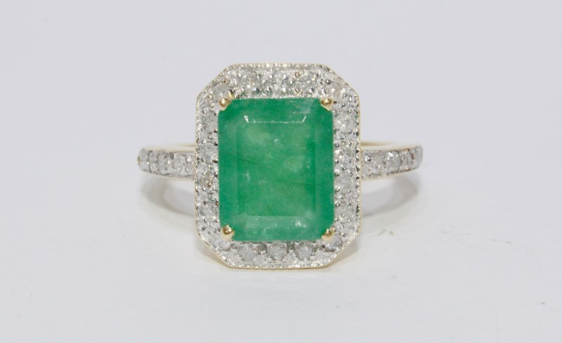 14K Yellow Gold Natural Large Emerald & Diamond Band Halo Style Statement Ring