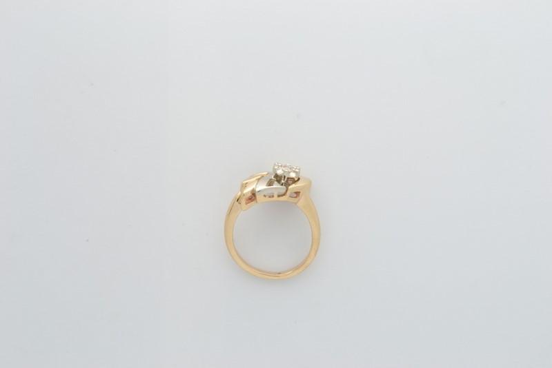 ESTATE DIAMOND RING SOLID 14K GOLD 2 TONE DECO DESIGN UNIQUE SZ 4.5