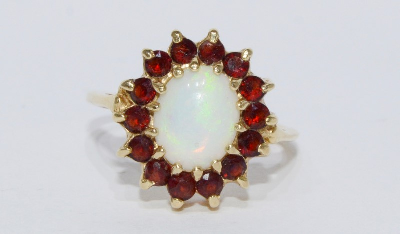 14K Yellow Gold Basket Cathedral Set Opal & Garnet Halo Ring Size 7