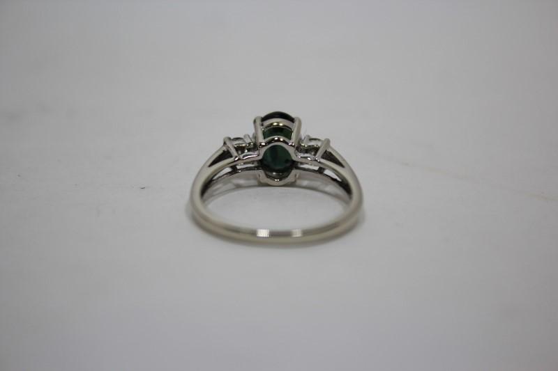 Lady's Sapphire & Diamond Ring 2 Diamonds .30 CTW 14K White Gold Size: 7