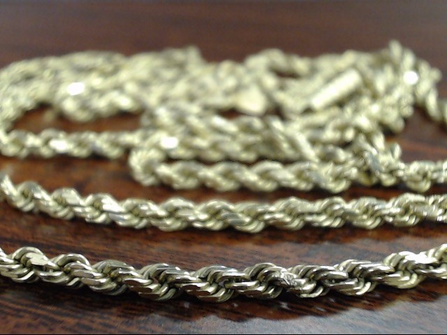 VINTAGE ROPE TWIST NECKLACE CHAIN SOLID REAL 14K YELLOW GOLD 30""