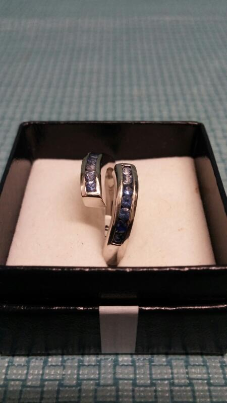 Synthetic Iolite Lady's Stone Ring 14K White Gold 6.22g Size:8