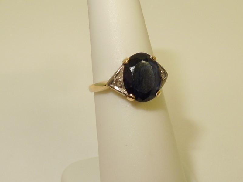 Sapphire Lady's Stone & Diamond Ring 2 Diamonds .02 Carat T.W. 14K 2 Tone Gold