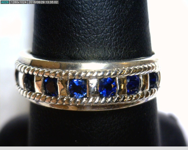 Sapphire Gent's Silver & Stone Ring 925 Silver 3.7dwt Size:9