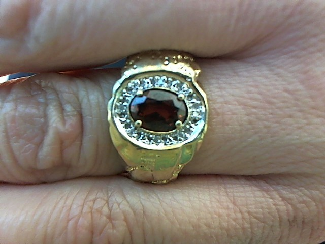 Red Stone Gent's Stone & Diamond Ring 8 Diamonds .040 Carat T.W.